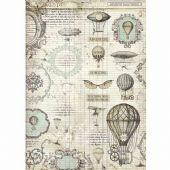 Stamperia A3 Rice Paper - Voyages Fantastiques Balloon - DFSA3031